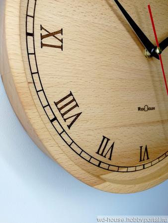 Часы настенные из бука. ЧБ6 ручной работы на заказ