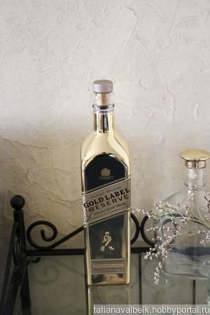 Бутылка квадратная золотое напыление ручной работы на заказ