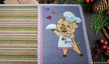 Набор ланчматов с  поросенком- поваренком ручной работы на заказ