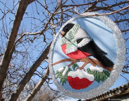 """Прихватка """"Снегирёк в шарфике"""" ручной работы на заказ"""