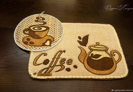 """Набор прихваток """"Кофе"""" ручной работы на заказ"""