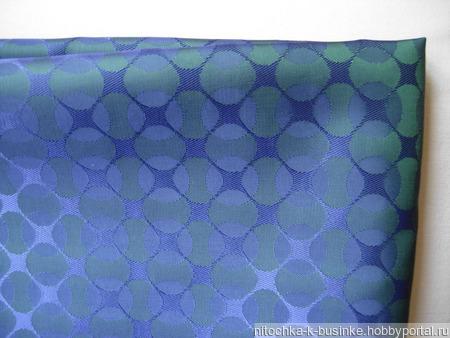 Отрез подкладочной ткани, синей с зеленым рисунком (круги) (№23) ручной работы на заказ