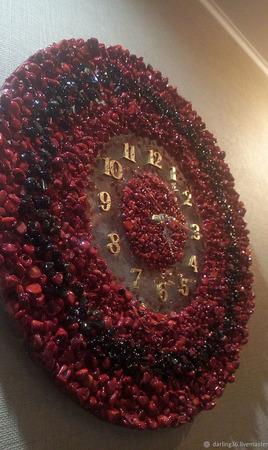 """Часы настенные """"Коралл"""" ручной работы на заказ"""