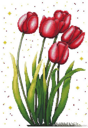 """Вышивка """"Яркие тюльпаны"""" ручной работы на заказ"""
