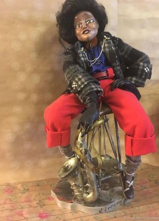 Авторская интерьерная кукла  В стиле JAZZ ручной работы на заказ