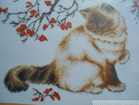 """Набор для вышивки """"Задумчивый кот"""" ручной работы на заказ"""