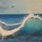 """Картина пастелью """"Волна"""""""
