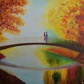 """Картина маслом """"Двое на мосту"""""""
