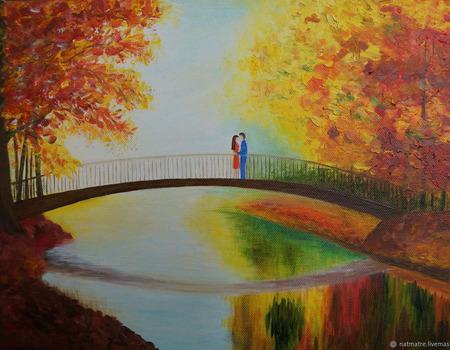 """Картина маслом """"Двое на мосту"""" ручной работы на заказ"""
