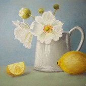 """Картина пастелью """"Натюрморт с лимоном"""""""
