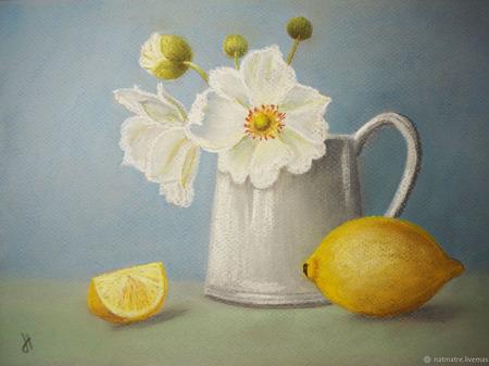 """Картина пастелью """"Натюрморт с лимоном"""" ручной работы на заказ"""