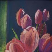 """Картина пастелью """"Тюльпаны"""""""