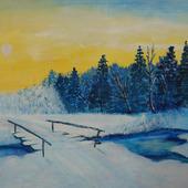 """Картина акрилом """"Мороз и солнце"""""""