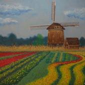 """Картина пастелью """"Голландский пейзаж"""""""