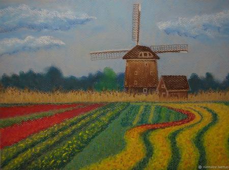 """Картина пастелью """"Голландский пейзаж"""" ручной работы на заказ"""