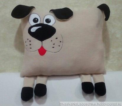 Пес - диванная подушка ручной работы на заказ