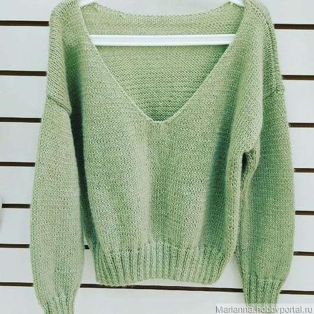 Пуловер оливковый ручной работы на заказ