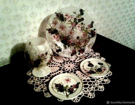 "Набор тарелок ""Ежевика"" ручной работы на заказ"