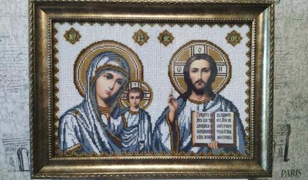 Икона Божья матерь и Вседержитель ручной работы на заказ