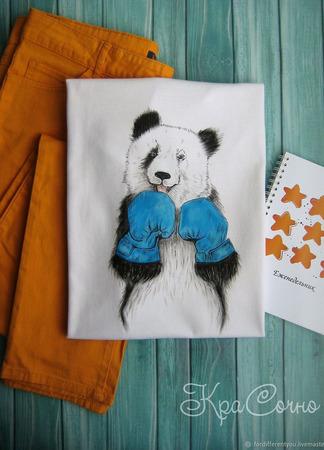 """Оригинальная футболка с ручной росписью """"Панда"""" ручной работы на заказ"""