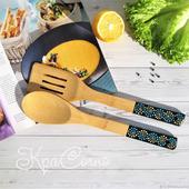 Ложка для салата - лопаточка с точечной росписью