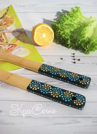 Ложка для салата - лопаточка с точечной росписью ручной работы на заказ