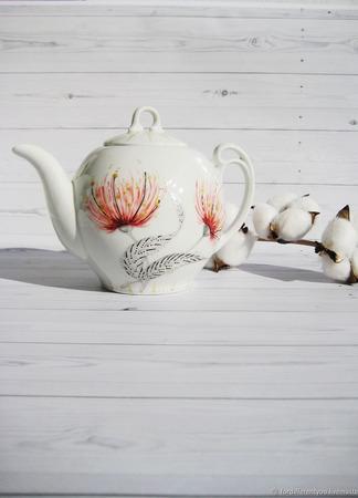 """Чайник заварочный с росписью """"Волшебный цветок"""" ручной работы на заказ"""