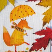 """Текстильный купон для декорирования """"Лисичка с зонтиком"""""""