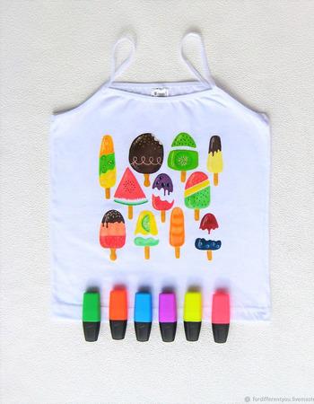 """Футболка с ручной росписью """"Хочу мороженку ;-)"""". ручной работы на заказ"""