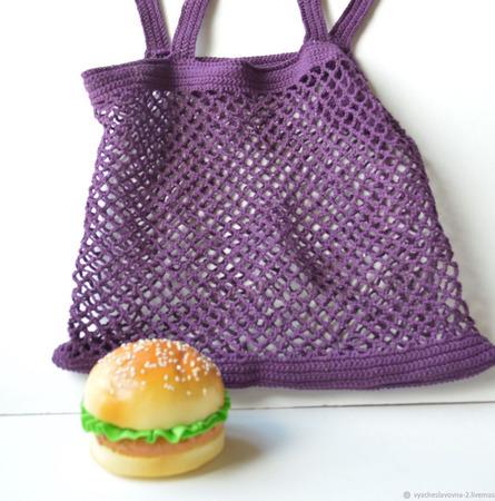 Сумка-авоська, связанная из хлопка, фиолетовая ручной работы на заказ