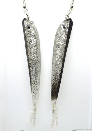 Серьги-килька из силикона ручной работы на заказ