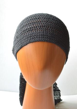 Чёрная вязаная бандана из льна ручной работы на заказ