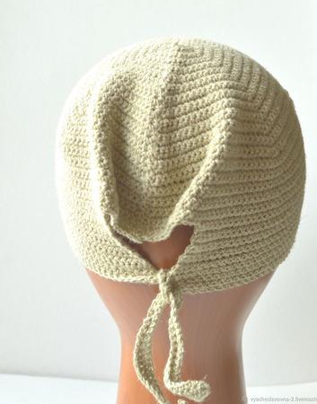 Безразмерная шапка из конопляной пряжи ручной работы на заказ