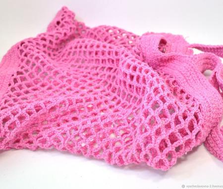 Сумка-авоська, связанная из хлопка, розовая ручной работы на заказ