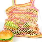 Сумка-авоська, связанная из хлопка, разноцветная