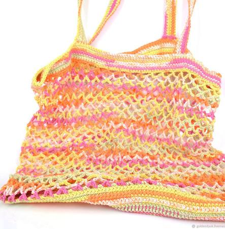 Сумка-авоська, связанная из хлопка, разноцветная ручной работы на заказ