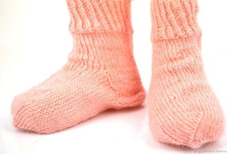Розовые пуховые носки для детей ручной работы на заказ