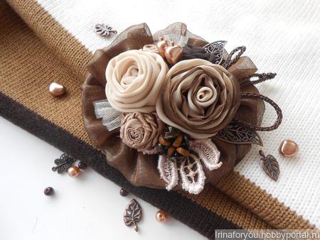 """Текстильная брошь """"Кофейные ароматы"""" ручной работы на заказ"""