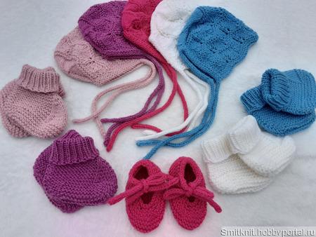 Чепчик + пинетки для новорожденного ручной работы на заказ