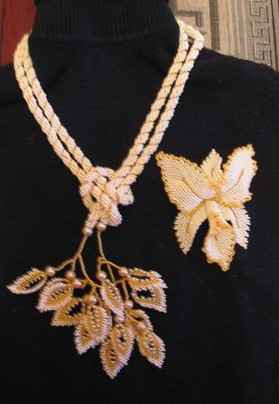 """Лариат """"Орхидея"""" ручной работы на заказ"""