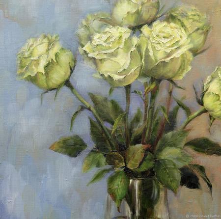 """Картина с цветами """"Розы Шампань"""" ручной работы на заказ"""