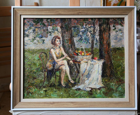 """Картина """"Девушка ждёт"""" ручной работы на заказ"""