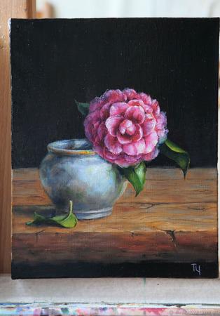"Картина ""Розовая камелия"" ручной работы на заказ"