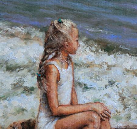 """Картина """"Девочка и море"""" ручной работы на заказ"""