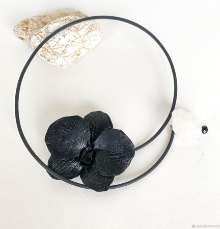 """Колье """"Черная орхидея"""" ручной работы на заказ"""