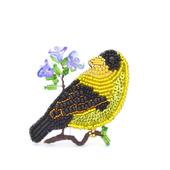 """Брошь- птица из бисера, с пайетками и канителью """"Чижик"""""""