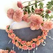 """Колье из цветов """"Медовая хризантема"""""""