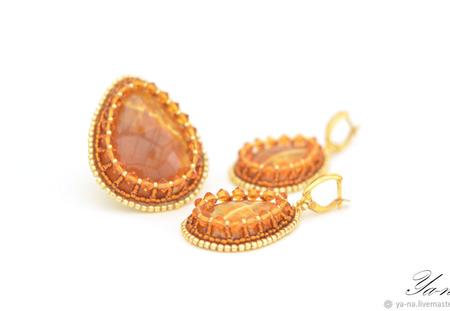 Комплект из бисера серьги и кольцо с симбирцитами ручной работы на заказ