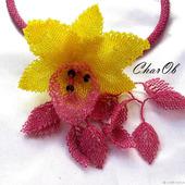 """Колье """"Орхидея"""" лимонно-брусничная"""
