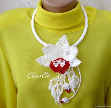 """Колье """"Белая Орхидея"""" ручной работы на заказ"""